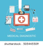 mediacal first aid kit with... | Shutterstock .eps vector #505445509