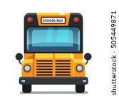 yellow school bus front view.... | Shutterstock .eps vector #505449871