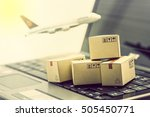 mini cardboard boxes on a... | Shutterstock . vector #505450771