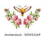 Moth With Peony Flower....