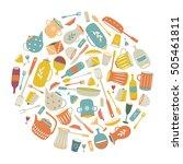 round flat ware. kitchen... | Shutterstock .eps vector #505461811