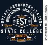 college vector label and print... | Shutterstock .eps vector #505470007