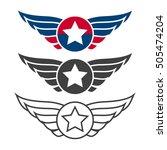 aviation emblem set  badges or... | Shutterstock .eps vector #505474204