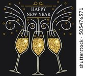 happy new year greeting card.... | Shutterstock .eps vector #505476571