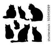 black silhouettes of a cat on a ... | Shutterstock .eps vector #505493989