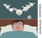 man suffering insomnia funny... | Shutterstock .eps vector #505495855
