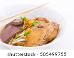 chicken noodle soup on white... | Shutterstock . vector #505499755
