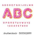 donut abc. pie alphabet. baked... | Shutterstock .eps vector #505502899