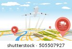 location on the 3d map with... | Shutterstock .eps vector #505507927