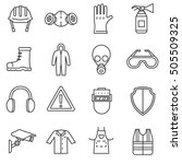 work safety icons set. means... | Shutterstock .eps vector #505509325