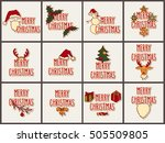 big set of vector christmas... | Shutterstock .eps vector #505509805
