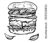 hand drawn sketch cheeseburger... | Shutterstock .eps vector #505520851