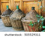 vintage empty wicker wine... | Shutterstock . vector #505529311