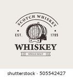 hand drawn whiskey logo.... | Shutterstock .eps vector #505542427