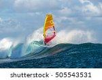 windsurfer rides among the huge ... | Shutterstock . vector #505543531