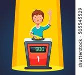 school kid playing quiz game... | Shutterstock .eps vector #505545529