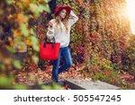 autumn street fashion look.... | Shutterstock . vector #505547245
