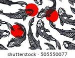 seamless pattern with koi carp...   Shutterstock . vector #505550077