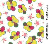 summer hawaiian seamless...   Shutterstock .eps vector #505559611