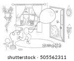 a kid dressed as a fox balloon... | Shutterstock .eps vector #505562311