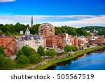 Small photo of Augusta, Maine, USA skyline on the river.