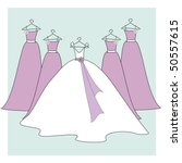 bride and bridesmaids dresses   Shutterstock .eps vector #50557615