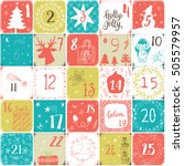 christmas advent calendar. hand ...   Shutterstock .eps vector #505579957