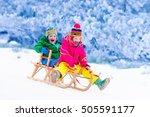 little girl and boy enjoy a... | Shutterstock . vector #505591177