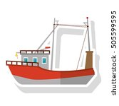 isolated fishing boat ship... | Shutterstock .eps vector #505599595