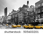 photo of yellow cabs at upper... | Shutterstock . vector #505603201