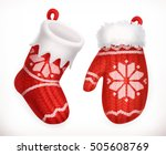 christmas sock and winter... | Shutterstock .eps vector #505608769