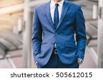 hand in pocket with wrist watch ... | Shutterstock . vector #505612015