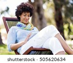 young woman using tablet in the ... | Shutterstock . vector #505620634