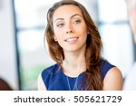 young businesswoman sitting at... | Shutterstock . vector #505621729
