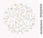 hand drawn doodle fitness icons ... | Shutterstock .eps vector #505635529