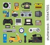 hipster tech gadgets. 90s... | Shutterstock .eps vector #505647031
