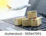 mini cardboard boxes on a... | Shutterstock . vector #505647091