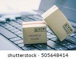 light brown cardboard boxes on... | Shutterstock . vector #505648414