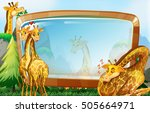 frame design with giraffe in... | Shutterstock .eps vector #505664971