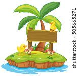 wooden sign with two ducks on... | Shutterstock .eps vector #505665271
