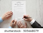 couple signing marriage... | Shutterstock . vector #505668079