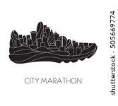 city marathon. running  sport ... | Shutterstock .eps vector #505669774