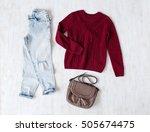 light blue ripped boyfriend... | Shutterstock . vector #505674475