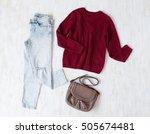 light blue ripped boyfriend... | Shutterstock . vector #505674481