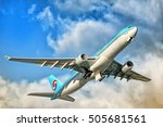 Small photo of MOSCOW, RUSSIA - CIRCA JUNE, 2016: Korean Air airlines Airbus Industries Airbus A330 widebody passenger airplane taking off in great evening light