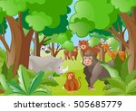 different wild animals in the... | Shutterstock .eps vector #505685779