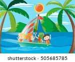 four kids on sailboat at... | Shutterstock .eps vector #505685785