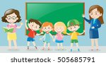 teachers and students in... | Shutterstock .eps vector #505685791