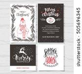 merry christmas invitation set. ... | Shutterstock .eps vector #505696345