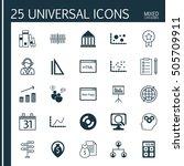 set of 25 universal editable... | Shutterstock .eps vector #505709911